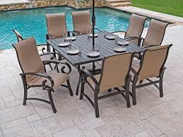 san marino padded sling 9 pc aluminum dining setwith 64 square slat top table