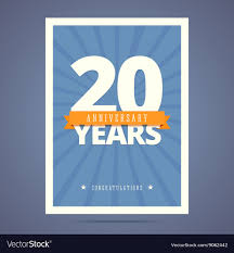 Template Anniversary Card 20 Year Anniversary Card Poster Template