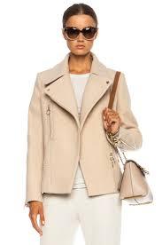 image 1 of chloe washed wool moto jacket in dark beige