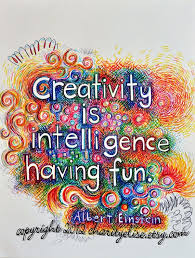 Inspirational Art Quotes Stunning Brightly Colored Art Print Creativity Is Intelligence Having Fun