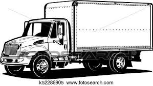 truck drawing outline. Contemporary Outline Clipart  Vector Truck Outline Template Isolated On White Fotosearch  Search Clip Art To Truck Drawing Outline