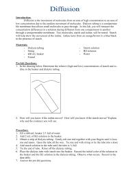 Iki Solution Diffusion Lab Worksheet