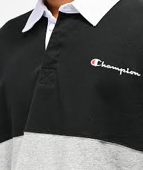 champion rugby black grey green long sleeve t shirt