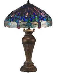 Blue Dragonfly Tiffany Table Lamp Antique Bronze