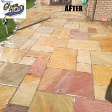 sandstone patio after soft washing gravesend