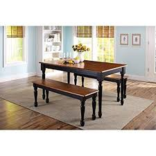 Breakfast sets furniture Breakfast Nook Image Unavailable Amazoncom Amazoncom 3piece Wooden Dining And Breakfast Table And Bench Set