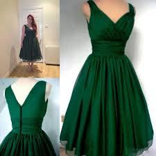 Us 79 99 Robe De Soriee New Emerald Green Tea Length Prom Dress Plus Size 2019 V Neck Evening Party Dress Vestidos De Noiva In Prom Dresses From