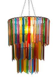 rhapsody multicoloured glass three tier chandelier