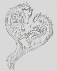 tribal wolf drawings in pencil. Unique Tribal Wolf Sketch  Pencil Art Artwork Heart Drawing Doodle With Tribal Drawings In Pencil O