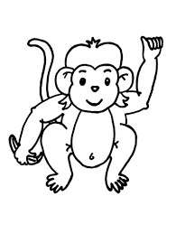 Cute Baby Monkey Coloring Page Free Download
