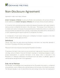 confidentiality agreement template non disclosure agreement template
