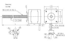 stepper motor 28cm lead screw bipolar 200 steps rev 42 dimension diagram for the nema 17 stepper motor