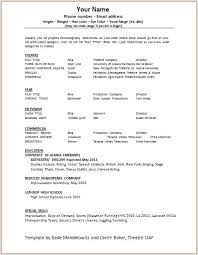 Acting Resume Sample Magnificent Free Acting Resume Samples And Musical Theater Template Sample How