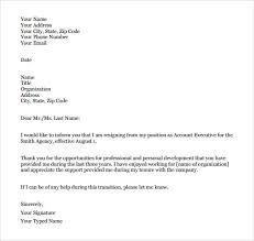 Resigned Format Formal Resignation Letter Template Business