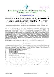 The Foundry Seating Chart Pdf Analysis Of Different Sand Casting Defects In A Medium