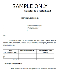 9 Job Order Forms Free Sample Example Format Download