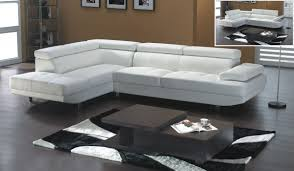 white leather modern sectional sofa with adjastable headrests