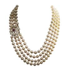 14k yellow gold ruby and diamond pearl necklace