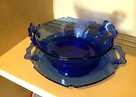 cobalt blue glass bowls mt pleasant blue glass vintage bowl with plate smith glass co vintage cobalt blue glass bowls