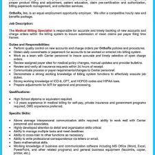 Medical Billing Clerk Sample Job Description Templates For Resume