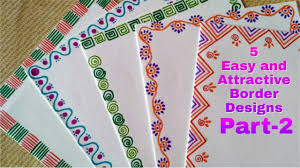 Birthday Cards Design For Kids 5 Easy And Attractive Border Designs For Greeting Cards Part 2 Diy