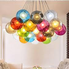 Colorful <b>Glass Ball</b> G4 <b>LED chandelier</b> Lamp 3 ~31heads of <b>glass</b> ...