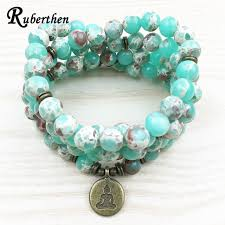 ruberthen fashion design women s 108 mala bracelet bronze buddhist charm necklace yoga balance jewelry