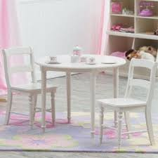 dexter kids round table with 2 chair set white finish