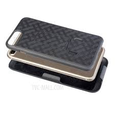 woven texture pc tpu swivel belt clip holster case for iphone 8 plus 7
