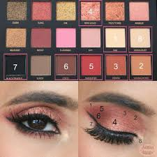 eye makeup pictorial featuring huda beauty eyeshadow palette rose gold edition shades rose gold