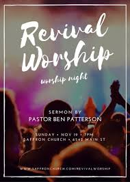 flyer for an event revival worship church event flyer templates canva revival