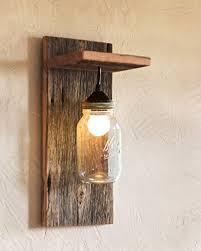 Barn wood and mason jar light fixture