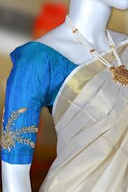 Blue Color Saree Blouse Designs Peacock Blue Designer Blouse Tissue Set Mundu