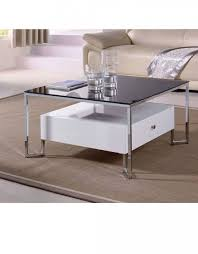 hover black top glass table with white storage