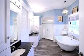 blue bathroom floor tiles. Modern Bathroom With Wood Tile Floor And Blue Wall Paint Colors Tiles