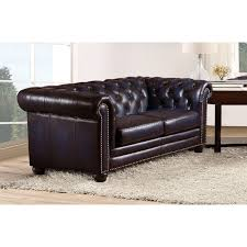hydeline dynasty lv dynasty leather chesterfield loveseat in tufted navy blue w nailhead trim