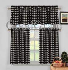 black white gingham checd plaid kitchen tier curtain valance com
