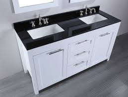 white stained wooden bathroom vanity cabinet with double undermount sink and black marble top