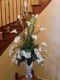 calla lily with orchid flower arrangement for perfect foyer or