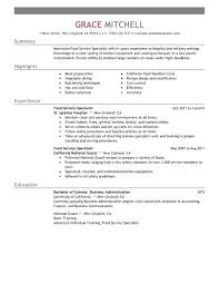 Food Service Resume Objective Examples Simple Food Service
