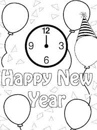 Happy New Year Coloring Pages Free Printable Pjlibraryradioinfo