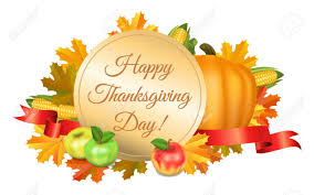 Happy Thanksgiving Greeting Card Pumpkins Corn Apples And