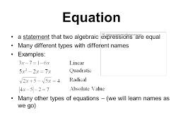 11 equation a statement that two algebraic