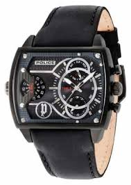 police watches official uk retailer first class watches police mens scorpion grey multi dial black leather strap 14698jsb 13a