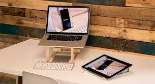 helmm laptop tablet stand wood wooden laptop and ipad pro stand