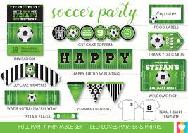 Soccer Party Invite Soccer Party Printable Set