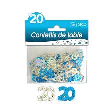 CONFETTIS DE TABLE 20 ANS BLEUE ARGENT