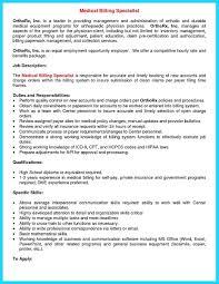 Medical Billing Resume Template Fascinating Medical Billing Specialist Resumes Medical Billing Specialist