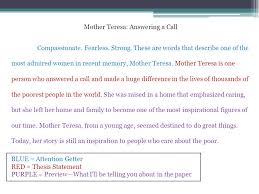 how to write a good thesis statement for an argumentative essay mother teresa essay short