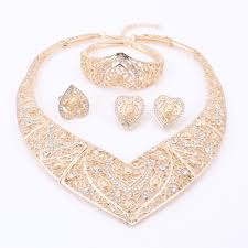 2019 ecklace earring ring fashion african wedding bridal costume jewelry dubai indian gold color heart shaped necklace earrings ring sets fo